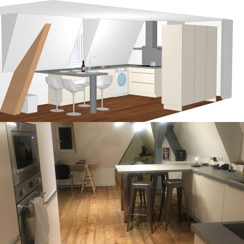 cuisine fonctionnelle pour petit espace de caract re valence pop cuisine. Black Bedroom Furniture Sets. Home Design Ideas